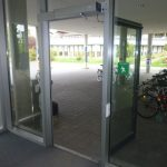 Picture of the accessible entrance viewed from the inside out