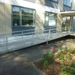 photo of the ramp to the main accessible entrance.