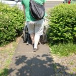 Photo showing a wheelchair user on the path illustrating its width