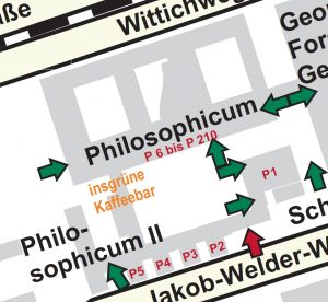 Enlarged image of the Philosphicum illustrating the different locations of the lecture halls throughout the building.