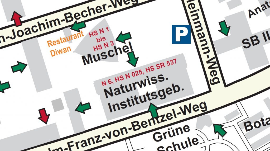 Enlarged image section of the campus map indicating the wheelchair accessible entrances to the building. Linked picture PDF is not accessible.