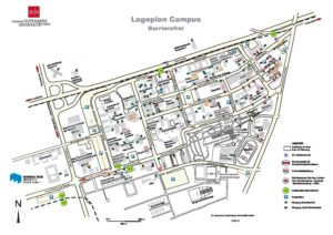 Campus map indicating the entrances to builings and their wheelchair accessibility. Linked map is not accessible.