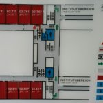 Picture of the second mezzanine level tactile floor plan. When exiting the lift connected to the guiding system, you will find it on the opposing wall to the left of the door directly across from the lift.