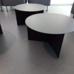 picture of the metal tables in the lounge areas.